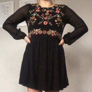 Zara embroidered floral print dress